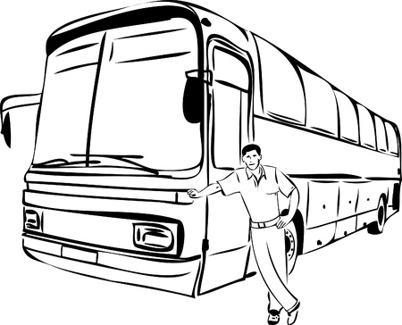 a sketch of a man near his bus driver Illustration