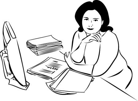 femme dessin: esquisse d'une jeune fille � la table en face de l'�cran