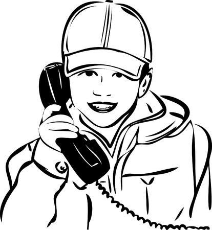 phone cord: a sketch of a boy wearing a cap with the handset