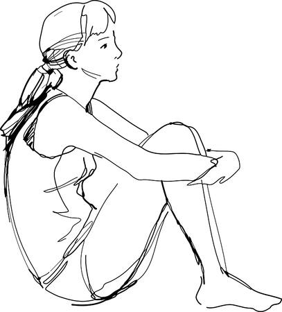 woman back of head: uno schizzo di una ragazza seduta abbracciando le sue ginocchia