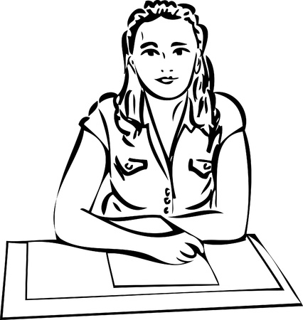 a sketch of a girl recording on paper Vector