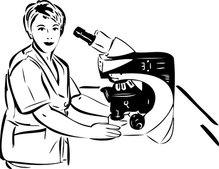 eyepiece: sketch of a woman in the lab next to the microscope
