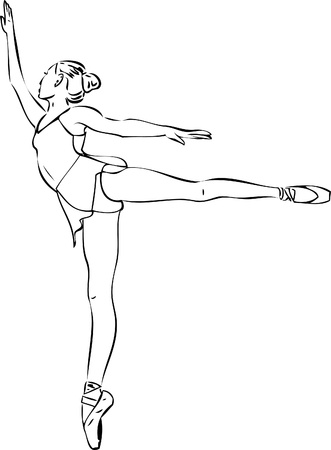 ballet slipper: Sketch of the ballerina in arabesque position in the Illustration
