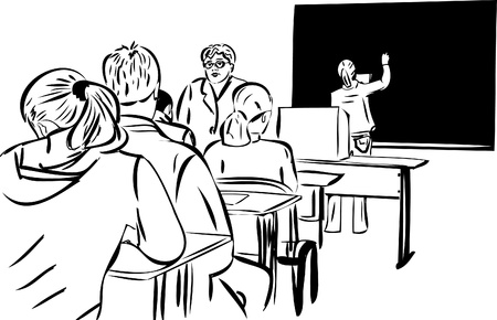 teaching children: design students in the class and the girls at the blackboard Illustration