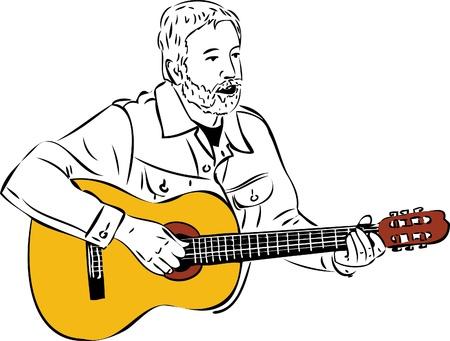 een schets van een man met een baard spelen van een gitaar