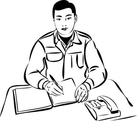 sketch of a man at the table writing in a notebook Vector