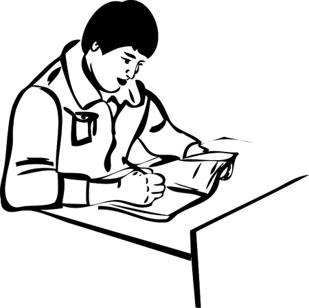 a sketch guy sitting at the table Vector