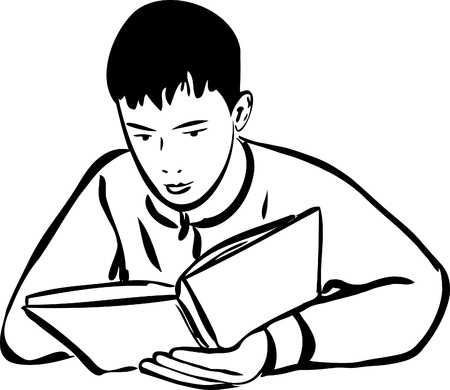 focusing: a sketch boy reading a book outline