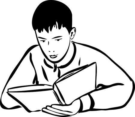 összpontosított: egy vázlatot egy könyvet olvasó kisfiú vázlat Illusztráció