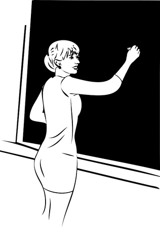 woman standing back: a she wrote in chalk on a blackboard Illustration