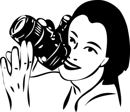hand on chin: a sketch of a girl with a camera in hand
