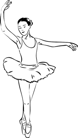 actresses: a sketch of a girl dancer dancing on pointe Illustration