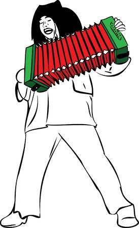imagen de un hombre canta y toca el acordeón