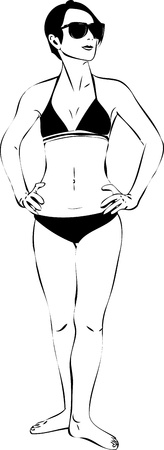 a sketch of a girl in sunglasses and black bikini Vector