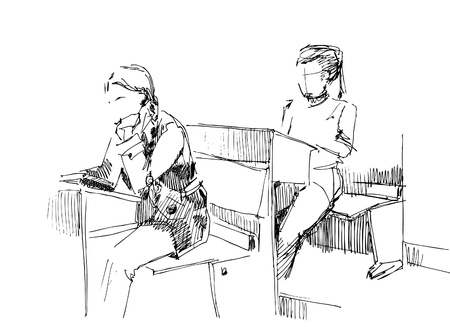 studentsstudents in a class-room Vector