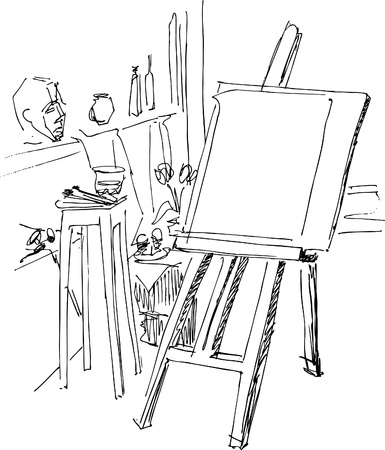 an easel is prepared to work