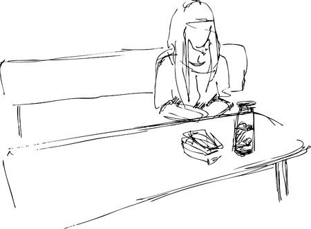 dinner jacket: girl at the table Illustration