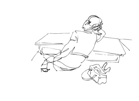 hair do: students in a class-room Illustration