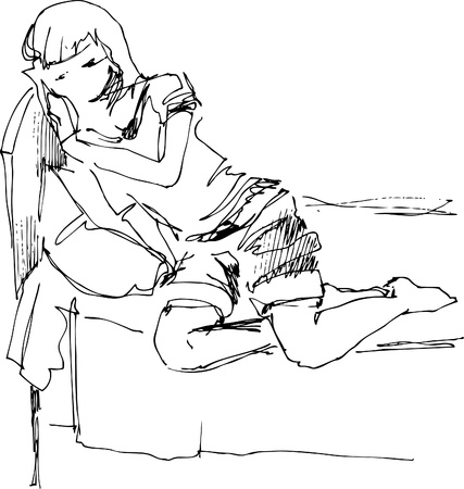 sleepy woman: on a bed