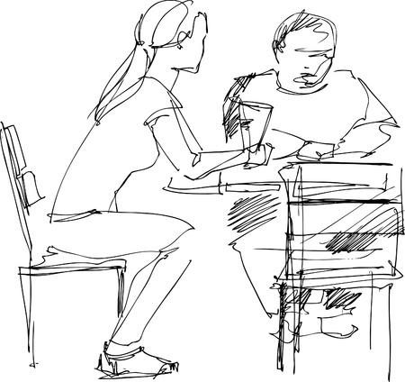 Immagine del ragazzo e la ragazza in cafe Archivio Fotografico - 10546390