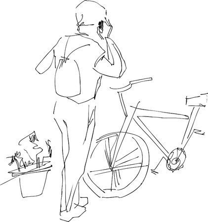 a fellow:   a  fellow near a bicycle talks on a mobile telephone Illustration