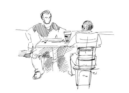 il ya deux gars à la table Vecteurs