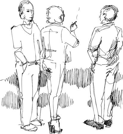 woman back of head: group of young   people smoke in the street Illustration