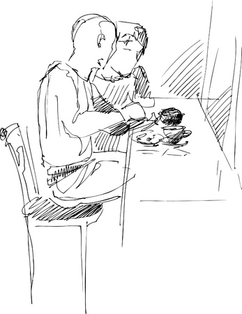 interruption: fellow with a girl at the table in a cafe Illustration