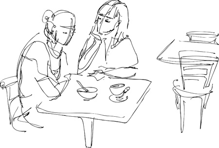 woman drinking tea:  of girl-friend communicate at the table