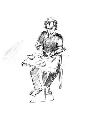 fellow: fellow has dinner at the table in a cafe