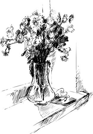 natura morta con fiori: Bouquet in un vaso