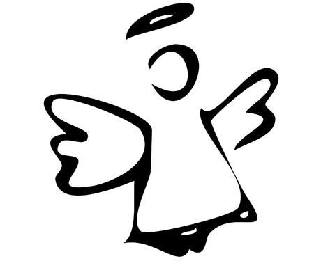 zwart wit tekening: De angelThe engel