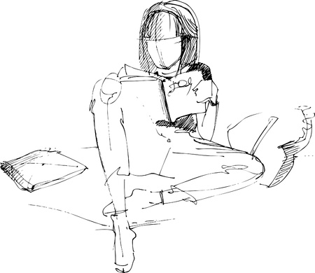 The girl reads in a bed