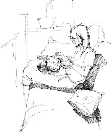 girl reading on sofa Illustration