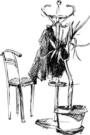 coat rack: sketch hanger between the chair and vases Illustration