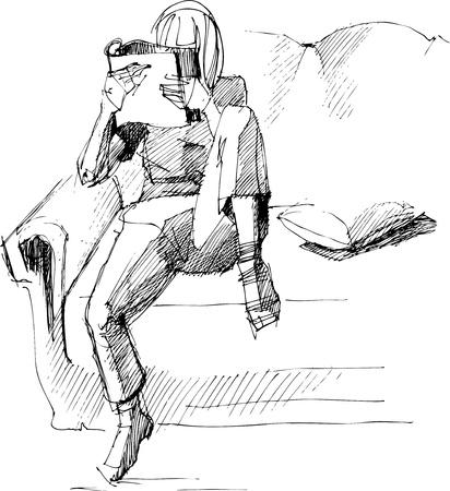 bocetos de personas: chica de la lectura en el sof� Vectores