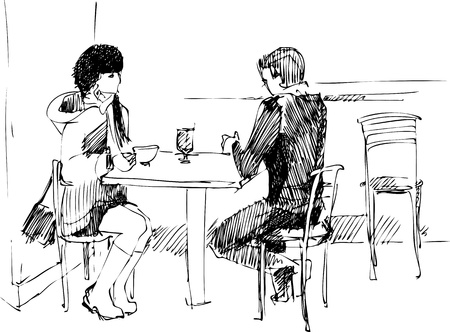 woman drinking tea: the guy with the girl at the table Illustration