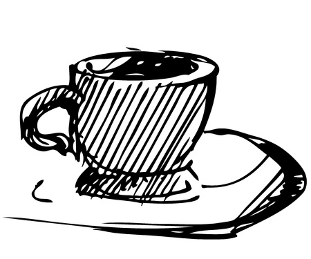 The black-and-white image of a cup of tea Vector