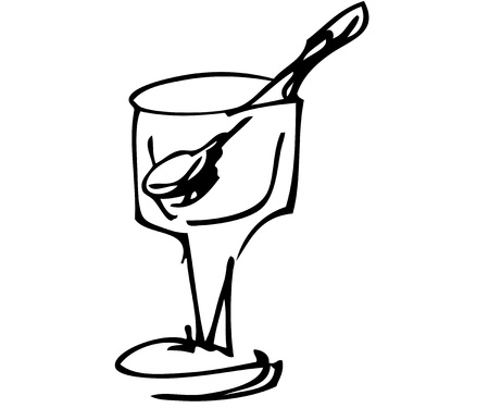 silver ware: The black-and-white image of a glass from ice-cream