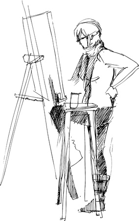 a fellow: a fellow drawing on an easel
