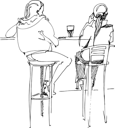 pair of youths at the table Illustration