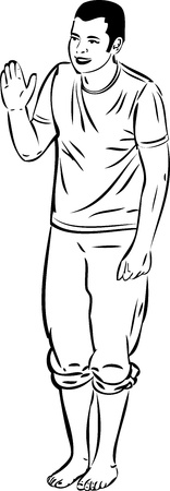 piedi nudi ragazzo: bianco e nero, schizzo ragazzo immagine ondeggiante a piedi nudi