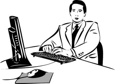 sketch of a guy working at the computer Stock Vector - 10630453