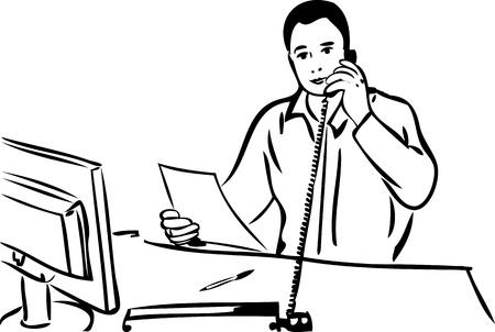 head phone: un esbozo de un hombre hablando por tel�fono