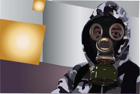 gasmask: image of man in a gas-mask on a grey background Illustration