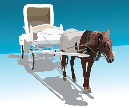 frisky:  image of horse harnessed in a white wagon