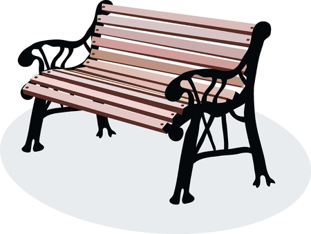 guardrails: a vectorial image of wooden bench is in a park Illustration