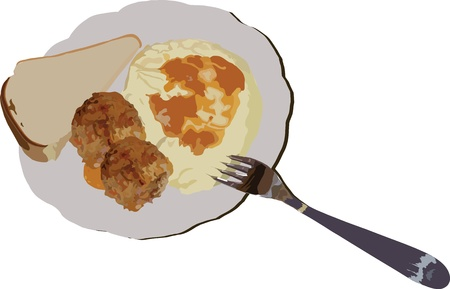 baked potatoes: image of potato of chops of fork of bread is in one dish