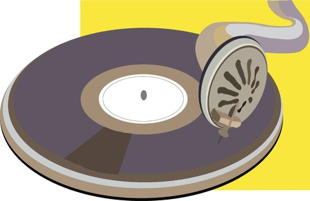phonograph: image of old vinyl disk on phonograph Illustration