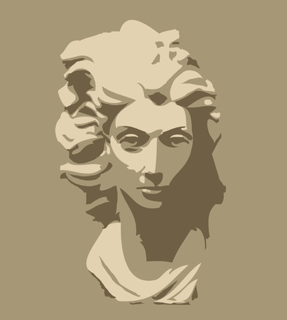 marble sculpture of head of woman Vector